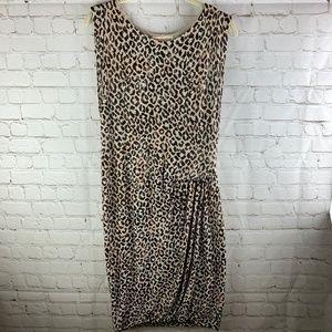 Rebecca Taylor Leopard Print Knit Ruched Dress